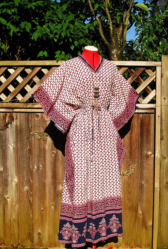 Vintage Ethnic  India Cotton HIPPIE Caftan Dress OS
