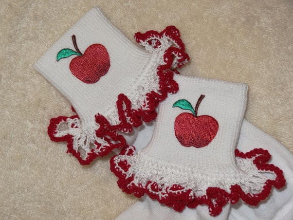 Boutique Crocheted Lace Ruffle Pageant Socks Custom Back to School Apples