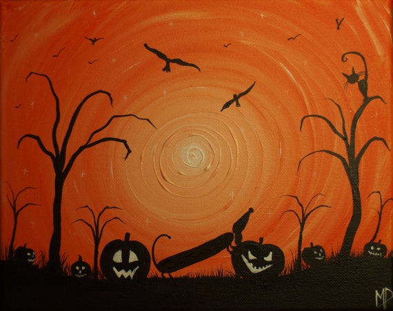 Happy Halloweenie -  8 x 10, acrylic on canvas, ready to hang, ORIGINAL by Michael H. Prosper