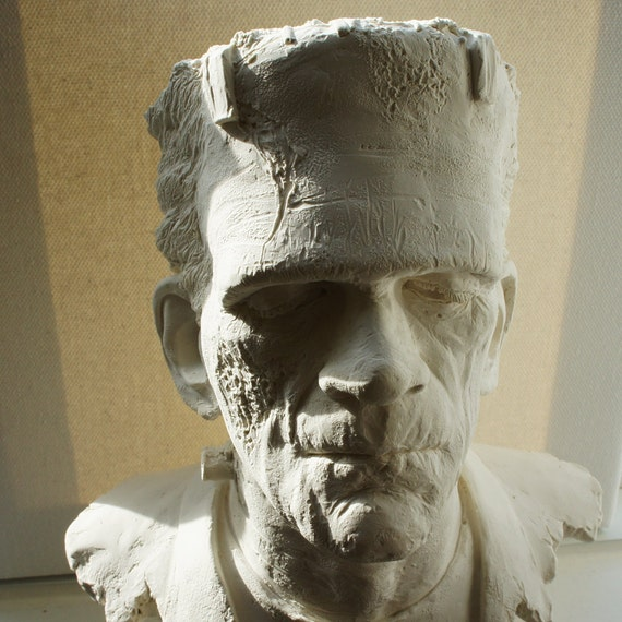 Awesome Monster of Frankenstein Bust, One of a Kind in Plaster, Bust Sculpture, Halloween Decoration