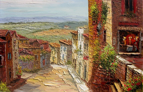 Original Oil Painting Dreamy Day 23 X 36 Palette Knife Street