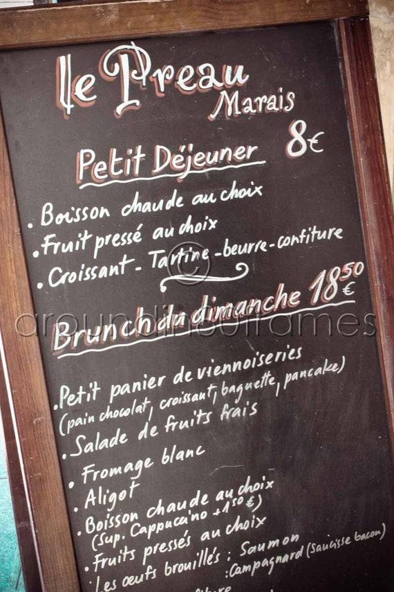 Items similar to Parisian Cafe Menu Paris, France, 8x10