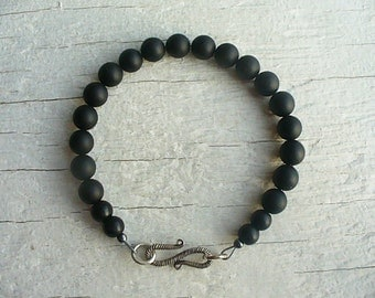 Matt Onyx Bracelet High Quality Beads - Beautiful Sterling Silver S Clasp - Men's Beaded Bracelet