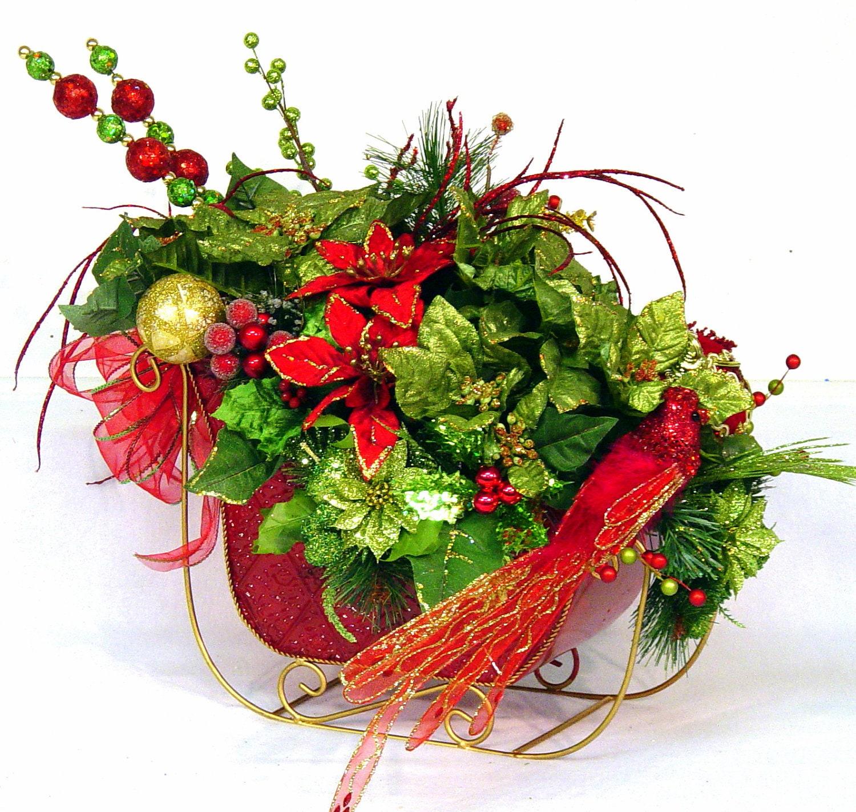 Cardinal Sleigh Ride Christmas Centerpiece Floral Arrangement