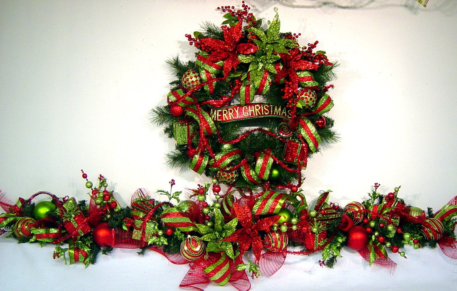 Christmas mantel garland holiday swag bling red lime green 6 for Christmas swags and garlands to make