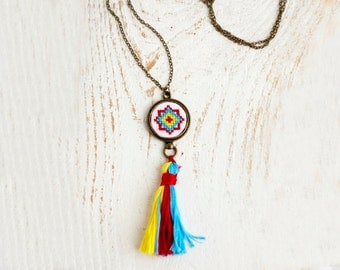 Tassel necklace with bright ethnic cross stitch n019