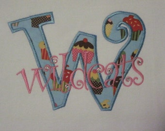 Curlz Applique Team Name or School Name Spirit Tee with BLING