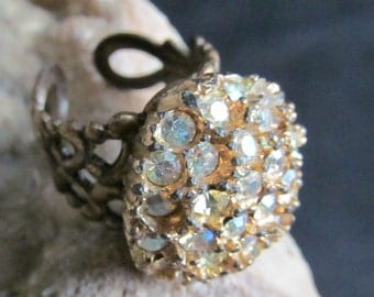 Gorgeous One of a Kind Rhinestone Vintage Button Ring R 14