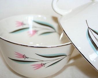 Mid Century Teacups Pink Flowers Aqua Leaves Tea for Two