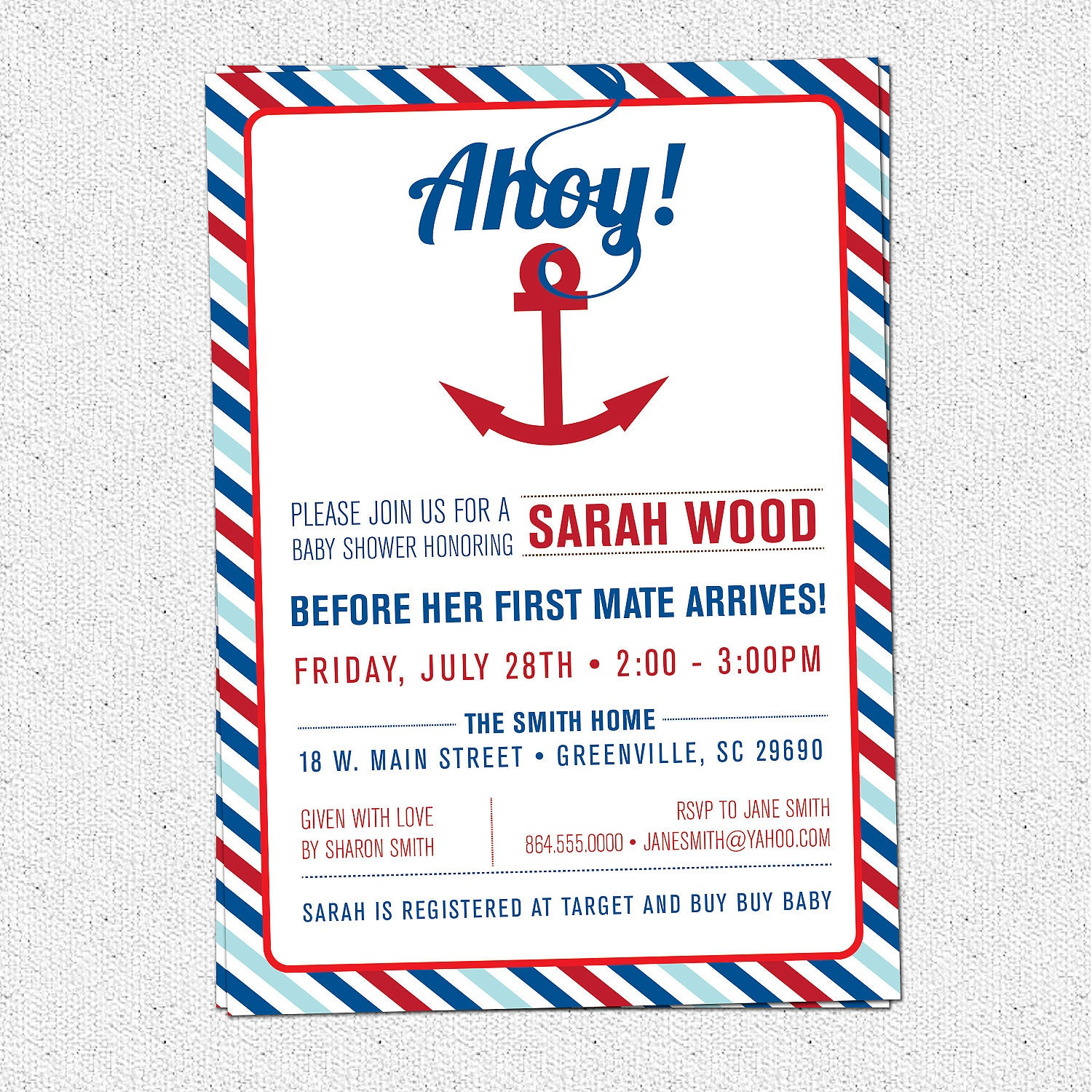 Nautical Anchor Baby Shower Invitation Printable By OhCreativeOne