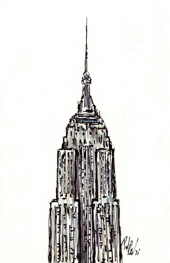 original empire state building 4x6 abstract pen ink