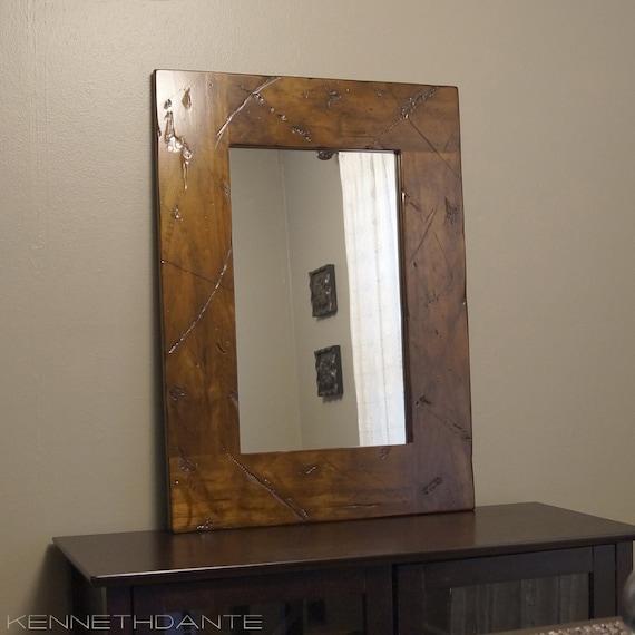 Wood Framed Mirror Distressed Brown Barnwood
