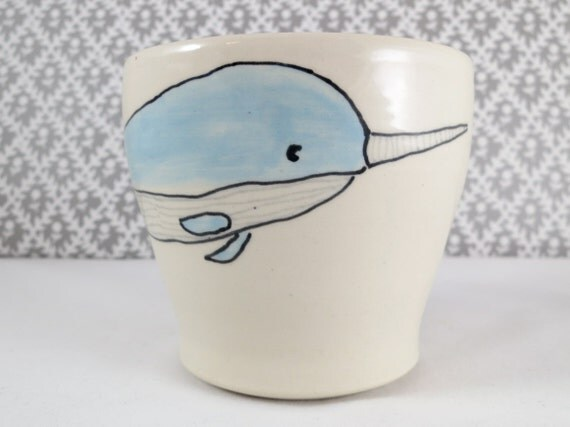 Reserved for Kristal - Narwhal Mug Pair - Handmade Ceramic Mugs