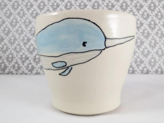 Reserved for Kristal - Narwhal Mug Pair - Handmade Ceramic Mugs