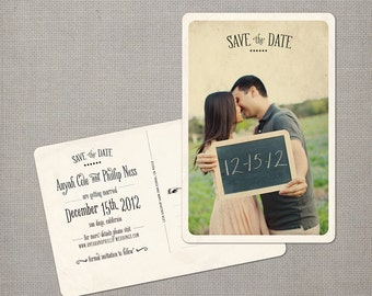 "Save the Date Postcard, Vintage Wedding Save the Date Card, Photo Wedding Announcement - the ""Anyah"""