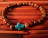 Cross Bracelet made with Wooden Beads