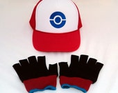 Ash Ketchum Black and White Hat and Gloves set  Halloween costume Pokemon Adult gloves