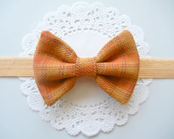 Baby Fabric Bow Headband - Autumn Fabric Bow - Gold Foldover Elastic