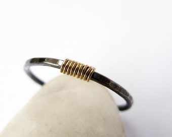 Oxidized sterling silver, thin stacking ring, black and gold, simple ring, slim ring