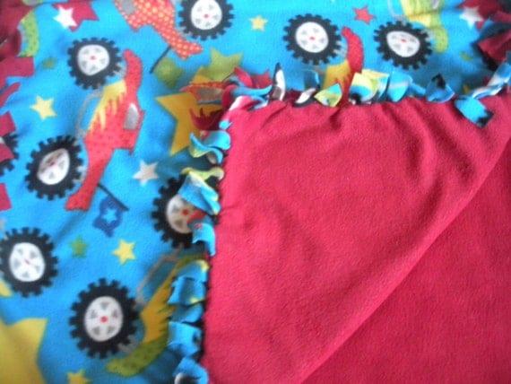 Kids Truck Fleece Blanket - Red, Blue and Yellow Boys Blanket
