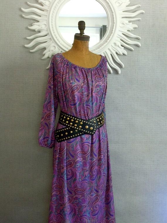 1970's,Caftan, Tunic, Dress, Paisley Design, Hippie Chic, Nicole Richie style, XL