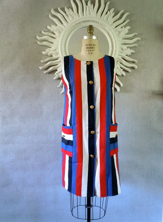 Nautical Dress/ 1950s Patriotic Striped Dress, Lounger 50s-early 60s, Brass Naval Buttons, Large pockets