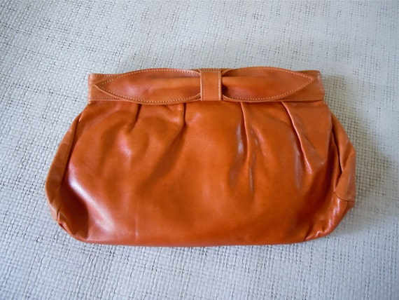 Leather Bow Clutch/ Brown 1980's Bag, Handbag, Convertible handle