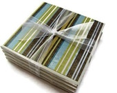 Green, Blue, and Brown Striped Handmade Tile Coasters, Set of 4, Modern, Drink Coasters