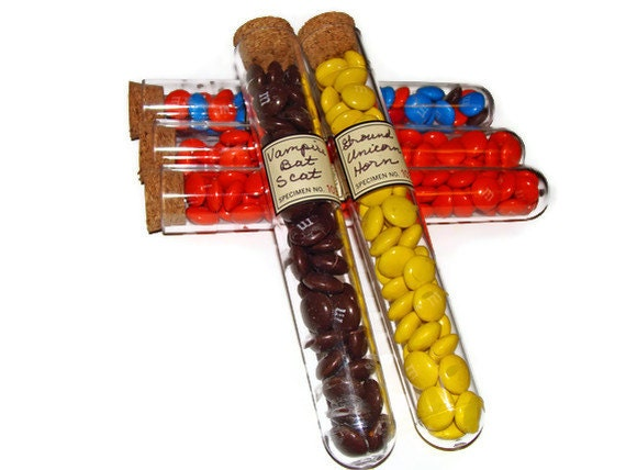Halloween Test Tube Treats, Set of 5, Handmade Candy M&Ms Chocolate Children Trick or Treat Party Favor