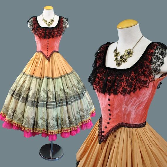 Vintage 1940s 50s Paris Couture Lace Burlesque By