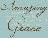 Amazing Grace Wall Decal  - Amazing Grace Wall Art - Scripture Wall Art - Scripture Wall Decal - Wall Decals - Wall Stickers - Wall Art