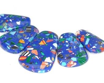 Stunning 5 pieces Purple / Blue Mosaic pendant bead Set J35B4097
