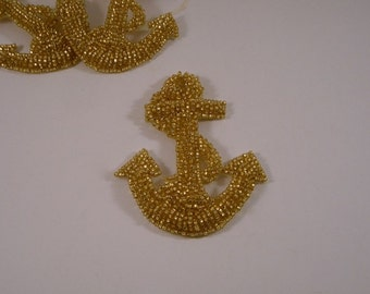 SMALL GOLD Beaded Anchor Crest Applique--One Piece