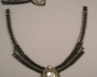 Gunmetal and Crystal Beaded Neckline Applique--One Piece
