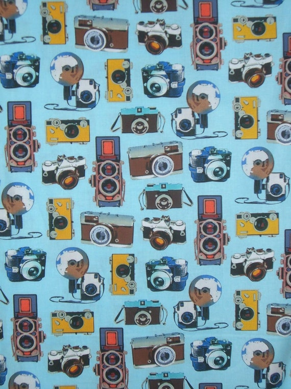 Vintage Camera Print on Blue Pure Cotton Fabric from Benartex--One Yard