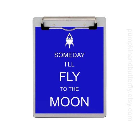 Modern Kids Art, Kids Decor, Nursery Art, Children's Art Print Poster, Modern Nursery,  Rocket Ship, Moon, Someday I'll Fly To The Moon