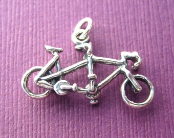 Sterling Silver Tandem Bicycle  Pendant  Charm