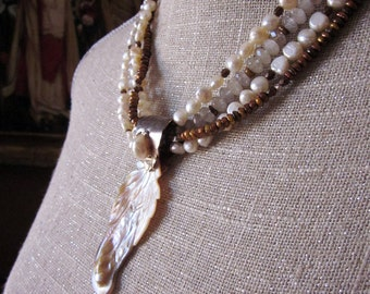 Golden Pearl and Quartz Necklace