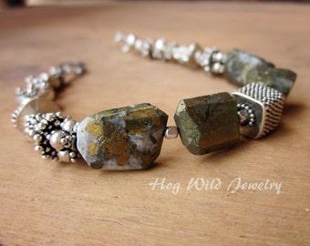Bali Silver Pyrite Nugget Sterling Silver Bracelet, Women's Chunky Stacking Bracelet, Semi Precious Stone, Gemstone Bracelet
