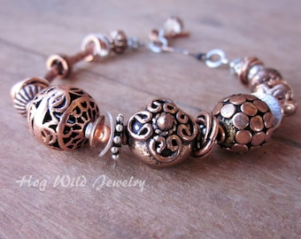 Copper Bali Silver and Sterling Silver Bracelet