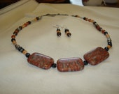 Agate Stone Beaded set Fall Colors Red Rust Orange Silver Black 19 inch