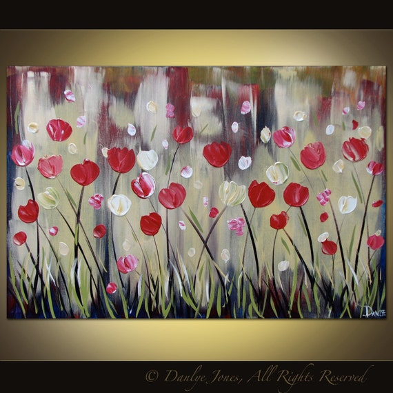 Original acrylic flower painting on canvas huge Modern abstract contemporary art 36 x 24 SALE