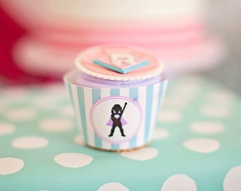 DIY Printable Cupcake Wrappers - Girl Superhero Party - Customized