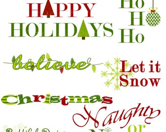 Christmas Word Art - Personal or Commercial Use - Mistletoe Set 1