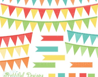Clip Art Ribbon Banner Pendant Digital Clip Art turquoise Coral Lime Yellow Beach Party