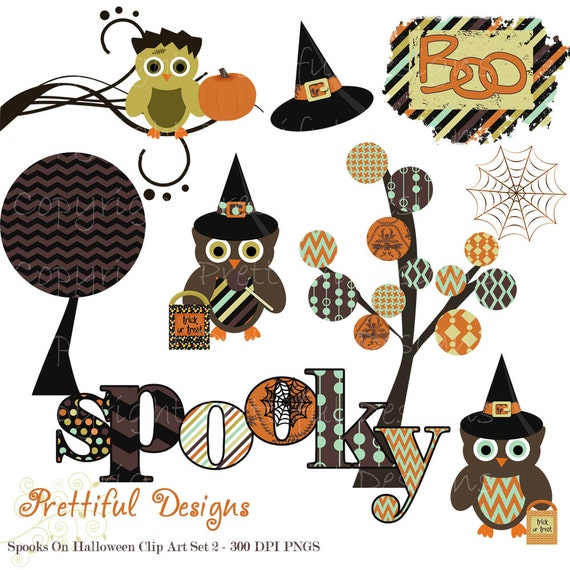 40% Off SALE Halloween Clip Art for Personal or Commercial Use - Spooks On Set 2 (382)