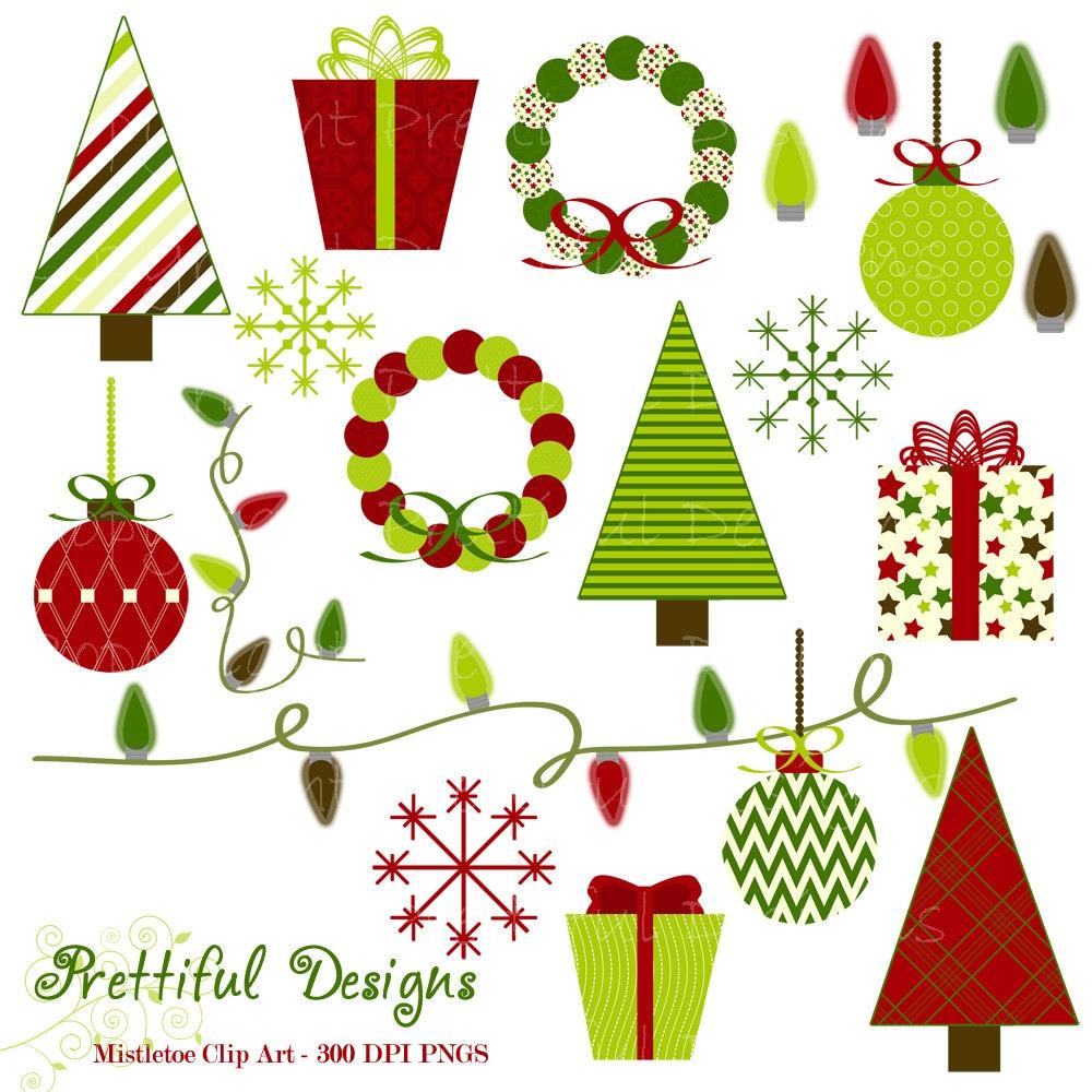Christmas Clip Art Tree Wreath Ornament by PrettifulDesigns