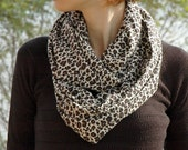 Ecru Brown Black Leopard Printed Cotton - Viscose Loose Infinity Scarf , Shawl , Neckwarmer - Mother's day gift idea