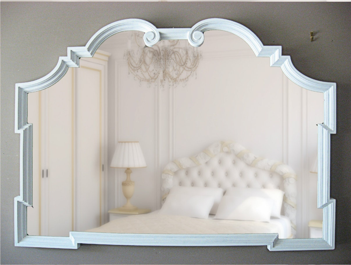 French country large wall mirror white by smallvintageaffair for Big white wall mirror