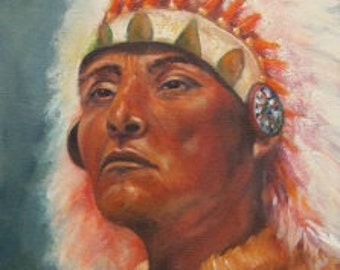 "Indian Native American  chief original oil painting portrait on 9"" x 12"" canvas by Sandra Cutrer Fine Art"